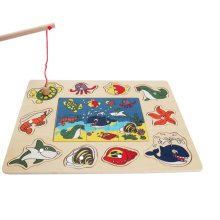 Wood Magnetic Fishing Game And Jigsaw Fishing Toy, Lovely Animal