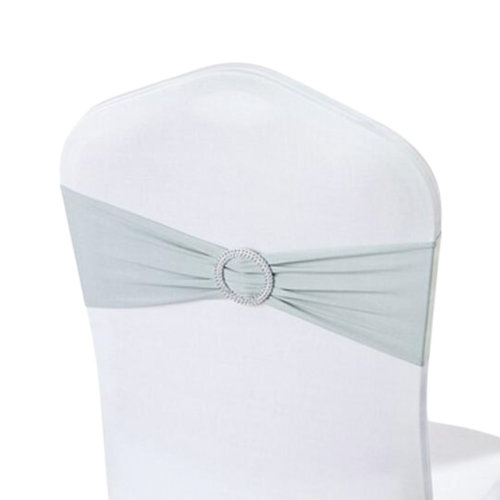 10PCS Chair Back Wedding Bow Sashes Chair Cover Bands With Buckle-Gray