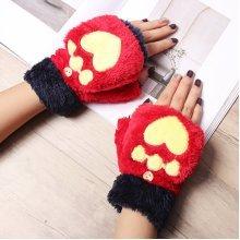 Cartoon Cat Plush Fingerless Gloves
