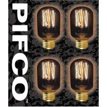 4 X PIFCO T45 40 Watt E27 ES Vintage Tubular Retro Light Bulbs