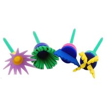 Set of 4 Children Painting Brush Washable Paintbrush Sponge Brush Random Color