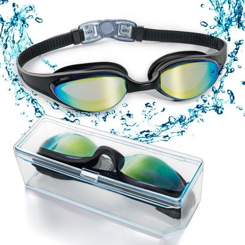 ZetHot Swim Goggles, Swimming Goggles with Flexible Soft Nose Bridge and Coloured Mirror Lenses, No Leaking Anti Fog UV Protection Triathlon Swim...