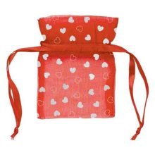 Amscan International Red Organza Bag With Silver -