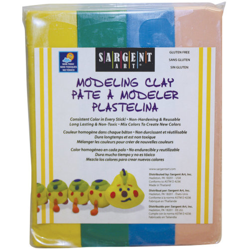 Non-Hardening Modeling Clay 1/4lb Sticks 4/Pkg-Yellow, Green, Blue & Pink