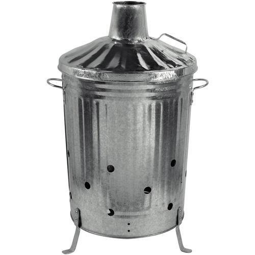 Heavy Duty Metal Galvanised Garden Incinerator and Lid Fire Bin 90 Litre UK Made