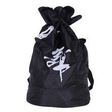 Petal Design Dance Dags Latin Ballet Drawstring Backpack Supply, Black