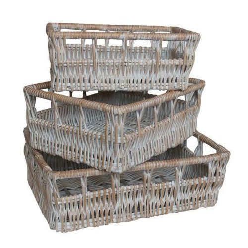 Full White Wash Willow Detailed Tray Set of 3