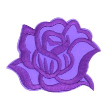 9PCS Embroidered Fabric Patches Sticker Iron Sew On Applique [Rose Purple]