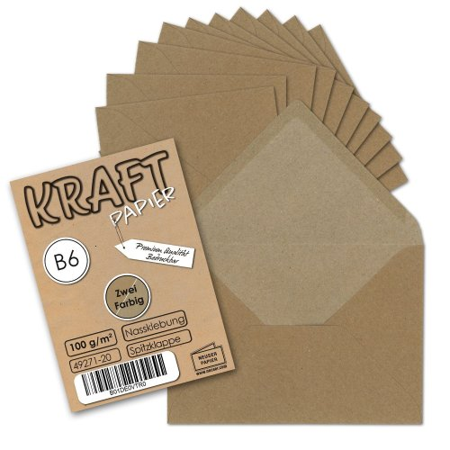 Envelopes, Recycled Paper - Natural Brown Colour, DIN B6 125 x 176 mm, with a small gift. 50 Umschläge brown