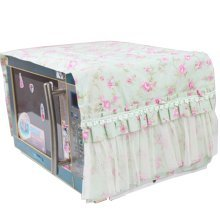 Flowers Microwave Oven Dustproof Cover Dust Cover Covered Cloth Green