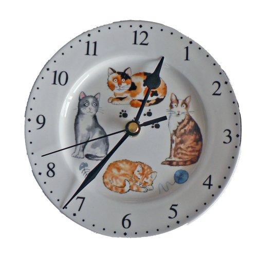 Cat small wall clock. Porcelain wall clock.Cute cats  design