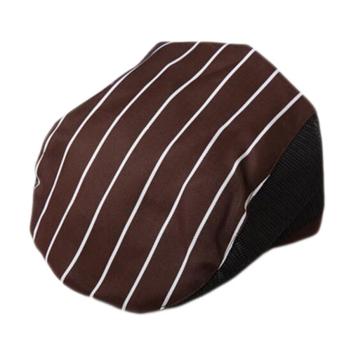 Fashion Cook Hats Hotel Cafe Breathable Mesh Chef Hats-Coffee Stripe