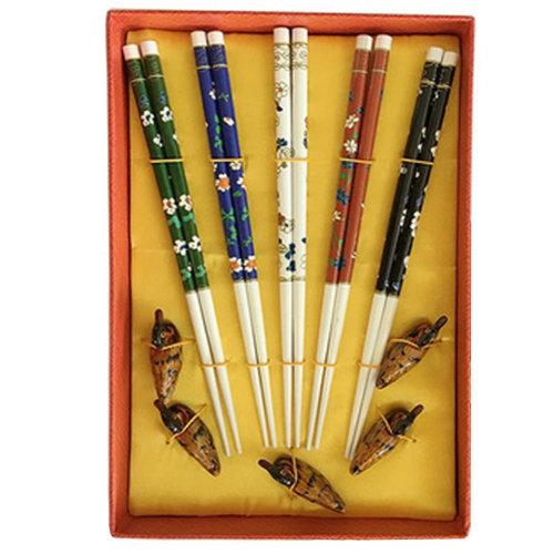 Chopsticks Reusable Set - Asian-style Natural Wooden Chop Stick Set with Case as Present Gift,Z