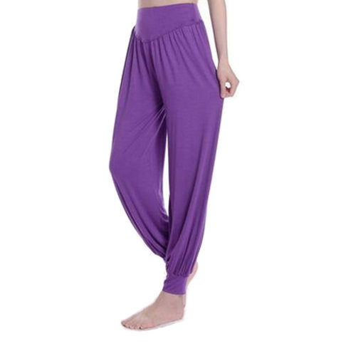 Women's Super Soft Modal Spandex Harem Yoga Pilates Pants?violet