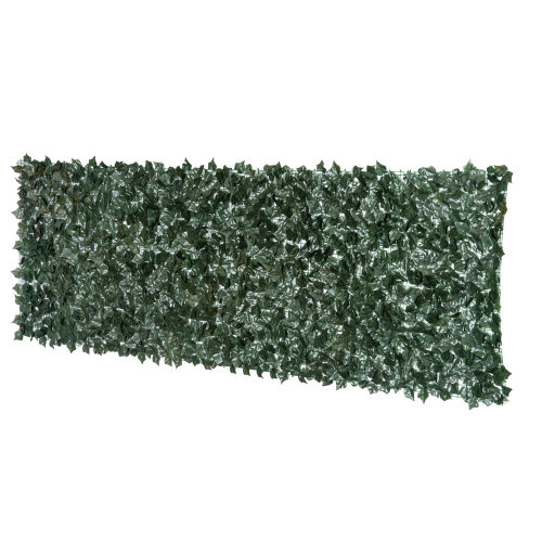 Outsunny Artificial Leaf Hedge Screen Privacy Fence Panel for Garden Outdoor Indoor Decor 3M x 1M Dark Green