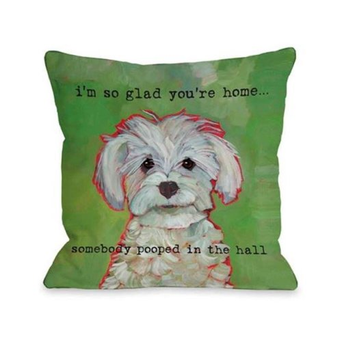 One Bella Casa 72166PL18 Somebody Pooped Pillow by Ursula Dodge, 18 x 18 in.