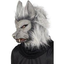 Smiffy's Werewolf Mask With Hair -  werewolf mask halloween fancy dress accessory hair adult grey horror silver ears unisex costume