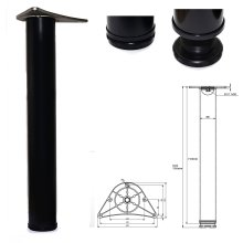 1 x 710mm Adjustable Black Breakfast Bar Worktop Support Table Leg 80mm