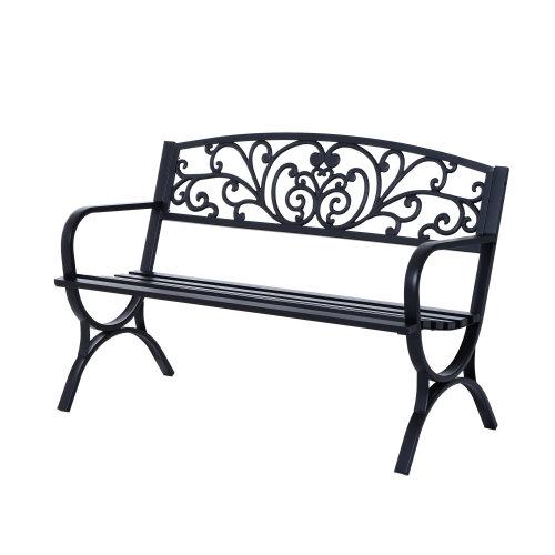 Outsunny Steel Garden Bench - Black