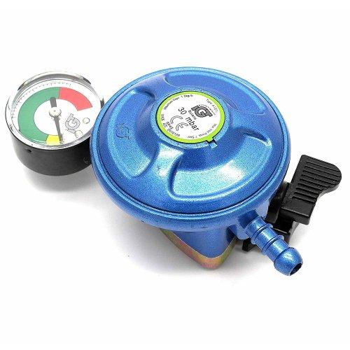 IGT 28Mbar Butane Gas Regulator With Pressure Gauge Fits 21Mm Gas Cylinders