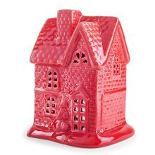 Festive Glazed Red Ceramic House Tealight Candle Lantern