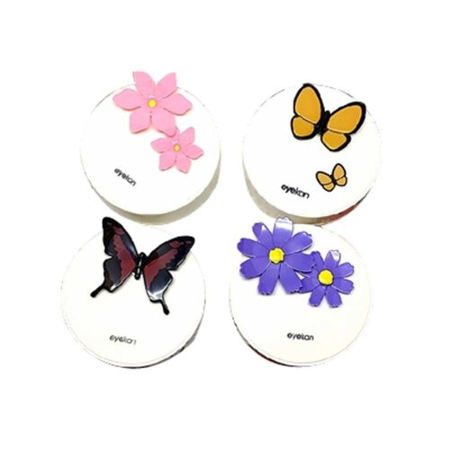 Well Design White Cartoon Pattern Contact Lenses Holder, Random Color