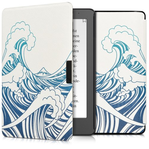 kwmobile Case for Kobo Aura Edition 2 - Book Style PU Leather Protective e-Reader Cover Folio Case - Blue Dark Blue White
