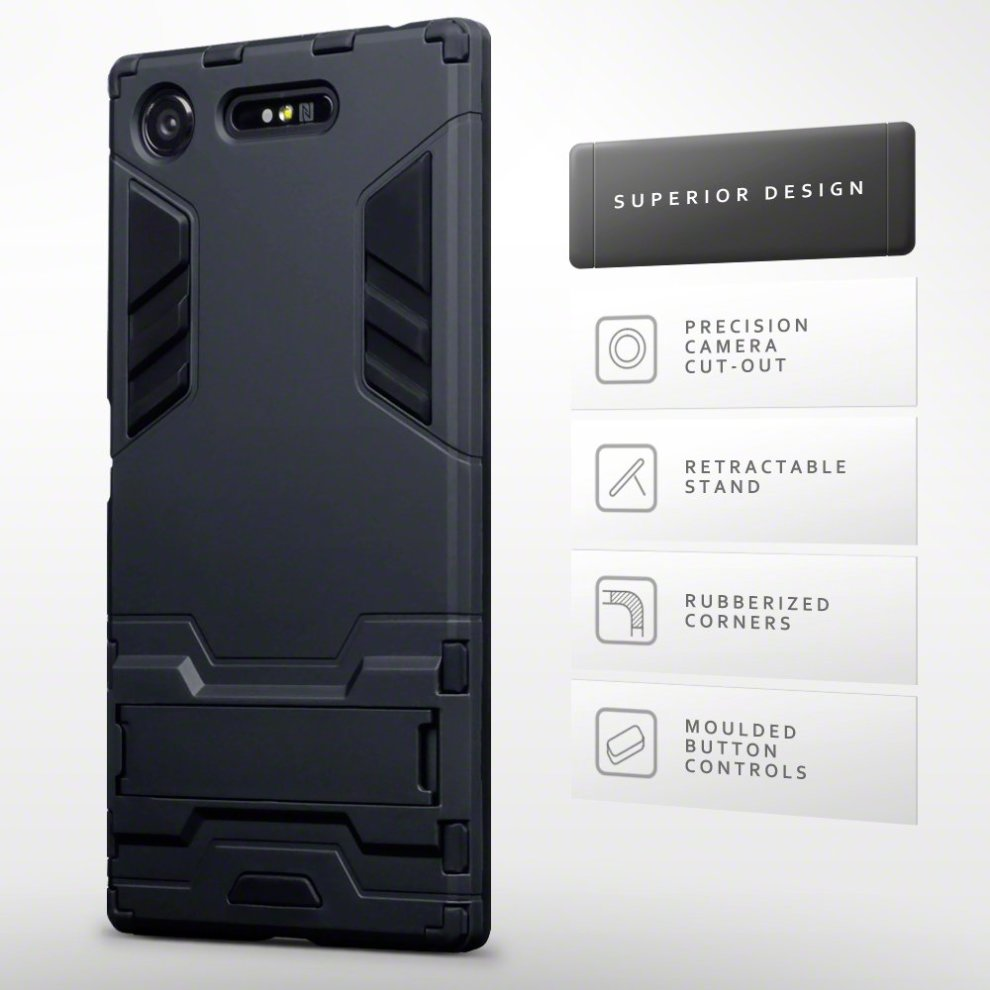 brand new 7577c 8d8bc TERRAPIN Xperia XZ1 Case Sony Xperia XZ1 Cover - Full Body Shock Resistant  Armour Case - High-Tech Look - Dual Layer - Kickstand - Black