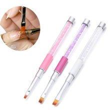 3Pcs/Kit Nail Art Flat Brush Acrylic Handle Rhinestone Diamond UV Gel Salon Manicure Tools