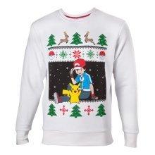 Pokemon Mens Ash and Pikachu Christmas Jumper - Medium - White (SW504572POK-M)