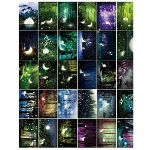 30 PCS 1 Set Creative Luminous Beautiful Birthday/Greeting Postcards,Forest