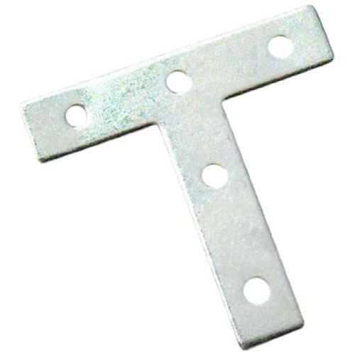 Bulk Hardware BH01194 Tee Shaped Repair Plates Brackets Braces Zinc Plated, 75 mm (3 inch) - Pack of 10