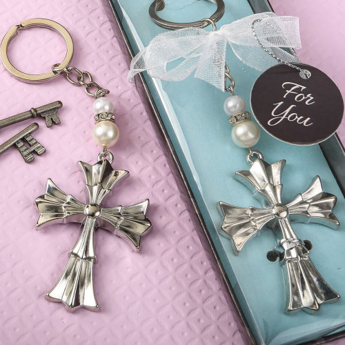 Ornate Flared cross keychain with a silver finish