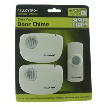 Lloytron 32 Melody B/O Wireless Door Chime with Mips - White (Twin Receivers)