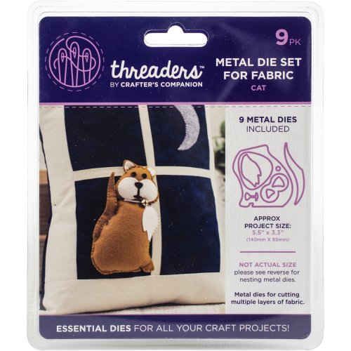 """Crafter's Companion Threaders Metal Fabric Nesting Dies-Cat Project Size 5.5""""X3.3"""" 9/Pkg"""