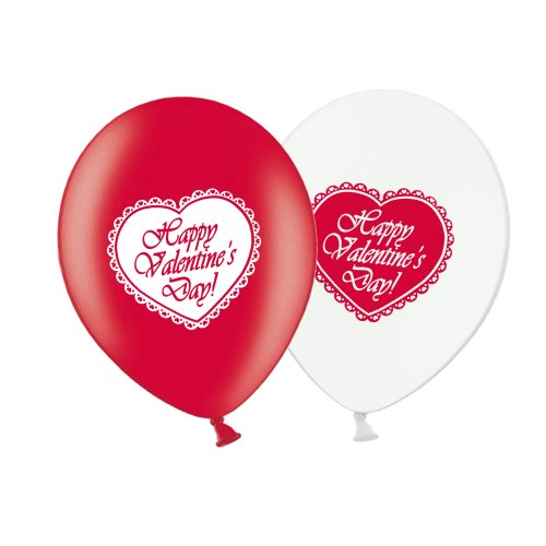 """Valentine's Day Lace Heart  - R&W Asst 12"""" Latex Balloons pack of 6"""