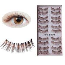 Handmade Natural Soft False Eyelashes Fake Eye Lash, Brown Fake Eyelashes