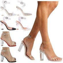 Reagan Womens Clear Heel Strappy Sandals