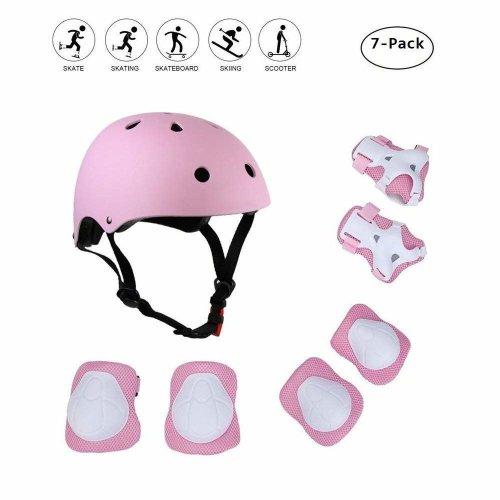 Coolgo® Kids Skateboard Helmet Protective Gear Set, COOLGOEU 7 in 1 Adjustable Knee Elbow Pads Wrist Guards Toddler Protection Safety Scooter...