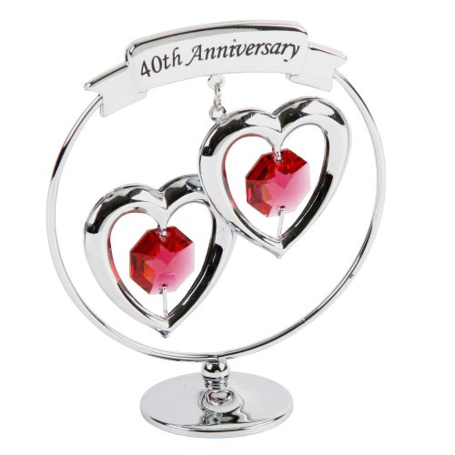 Crysocraft 40th Anniversary Two Hearts Ring Ornament with Swarovski Elements