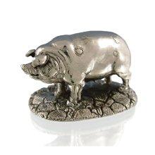 925 Sterling Silver Pig Figure - British Farmyard Animals.