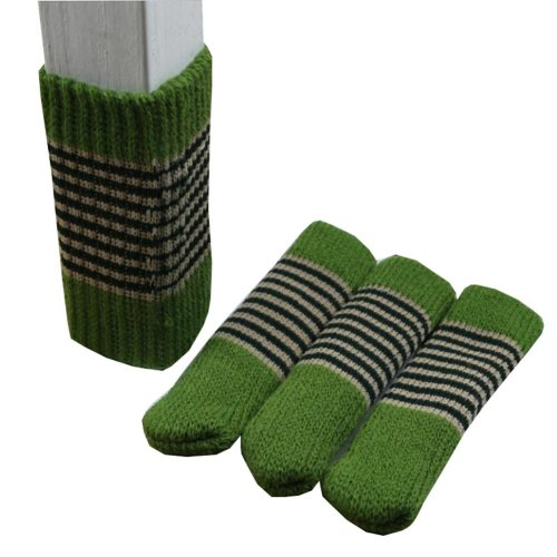 Stripe Pattern Knitted Floor Protectors Pads Pack of 24 - Green