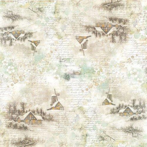 "Stamperia Rice Paper Napkin 19.5""X19.6""-Snowy Landscapes"