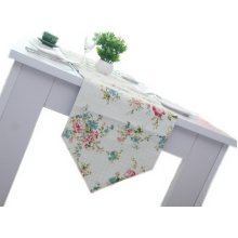 Simple Country Style Floral Print Table Runner Dual Used Blue Plaid 70.5''