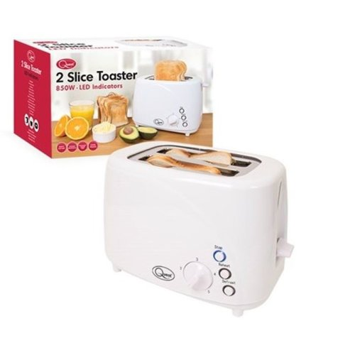 White 850w Kitchen 2-Slice Toaster with LED Buttons