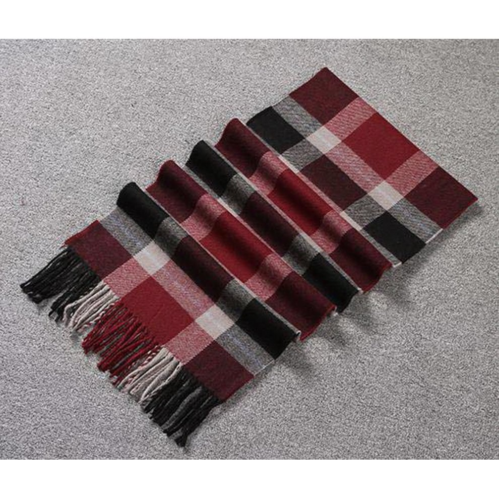 c5a8a824d ... Fashion Classic Couple Scarf Wine Red Gray Plaid Style Warm Scarf Gift  For Lover - 1. >