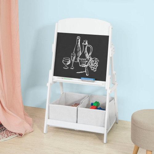 SoBuy® KMB03-W, Children Kids Art Easel Blackboard Chalkboard 2 Storage Boxes