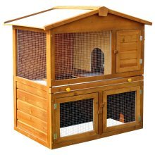 Pawhut Wooden Rabbit Guinea Pig Ferret Hutch House Cage Pen with Built in Run