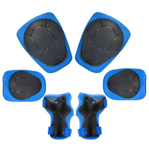 Kuyou Protective Gear Set, 6 in 1 Knee and Elbow Pads with Wrist Guards Toddler for Child Kids Volleyball Safety (Blue)
