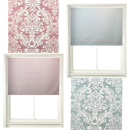 Damask Window Roller Blinds Trimmable Curtains Easy Fit Blind Shutters